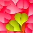 Paper hearts background - pink and green — Stock Photo #6409048
