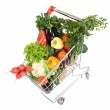 Fresh vegetable groceries in shopping cart — Stock Photo #6409083