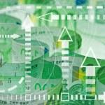 Euro banknotes closeup - time and money concept — Stock Photo