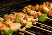 Chicken meat and vegetables barbeque — Stock Photo
