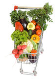Shopping cart with vegetables - top view, isolated — Stock Photo