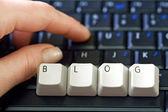 Hand and laptop keyboard — Stock Photo