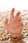Debt and bad finances concept - drowning in money — Stock Photo