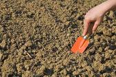 Woman preparing soil for spring gardening — Stock Photo