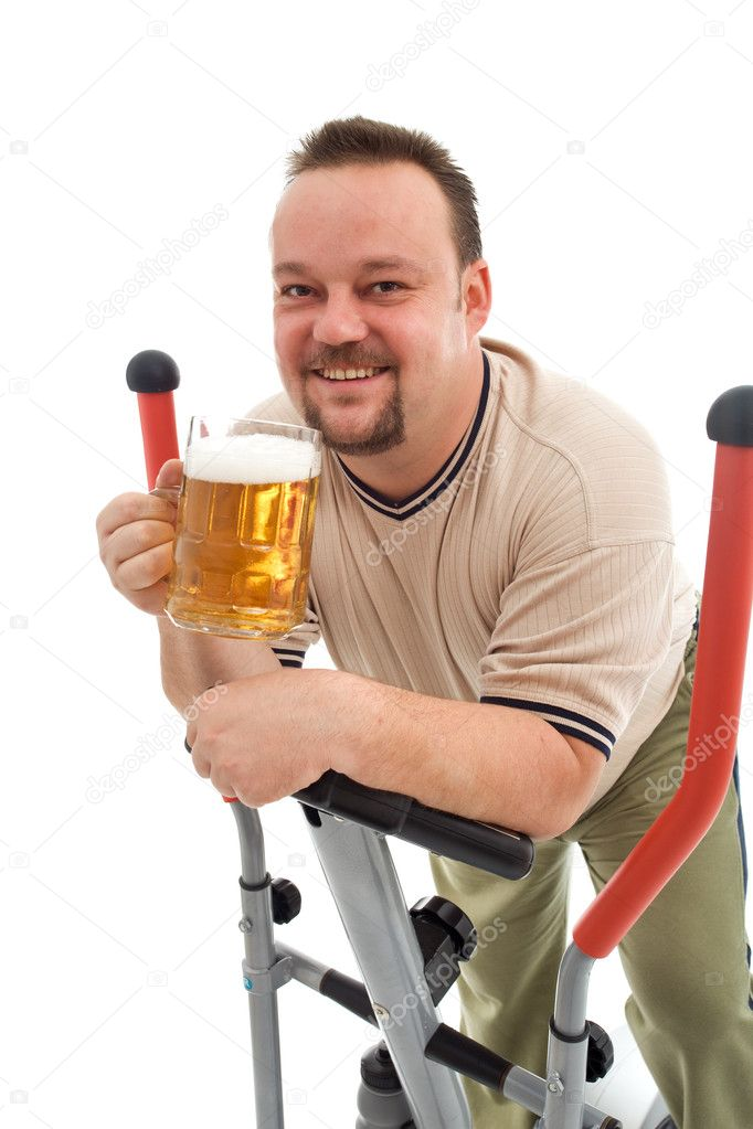 Happy man working out with a beer - isolated — Stock Photo #6409541