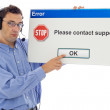 Sad man from support staff — Stock Photo