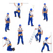 Handyman or worker in different working positions -  