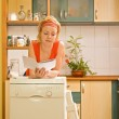 Woman with new kitchen appliance — Stock Photo #6410332