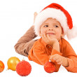 Boy dreaming about christmas - isolated — Stock Photo