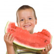 Ecstatic boy with watermelon slice — Stock Photo