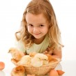 Happy little girl with her chicks — Stock Photo #6411085