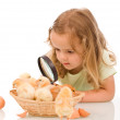 Little girl with large lens studying chicks — Stock Photo #6411088