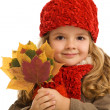 Little girl portrait with autumn leaves — Stock Photo