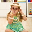 Little popcorn princess playing — Stock Photo