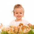 Royalty-Free Stock Photo: Happy spring girl with a basketful of little easter chicks