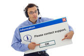 Friendly support guiding customer — Stock Photo
