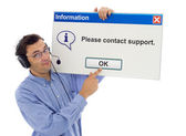 Friendly support with computer mesage — Stock Photo