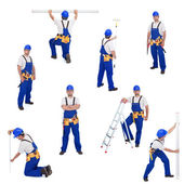 Handyman or worker in different working positions — Stock Photo