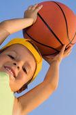 Boy with basket ball — Stock Photo