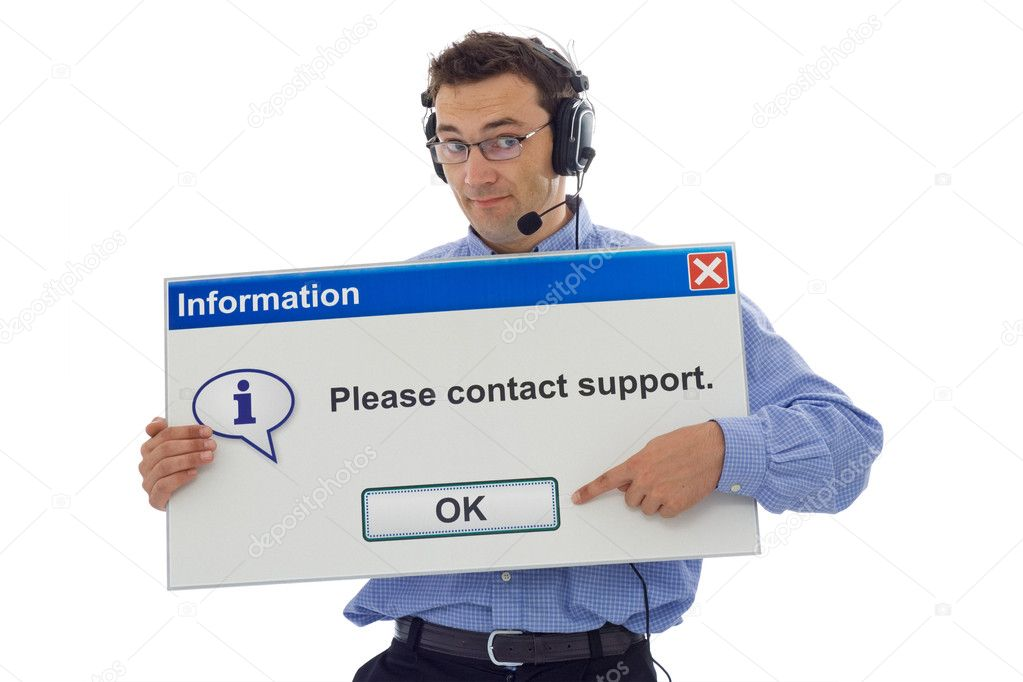 Friendly IT support staff member with computer message box pointing the customer in the right direction - isolated — Stock Photo #6410175