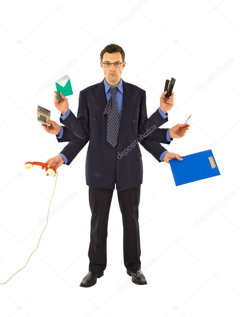 working too much stock photo © lightkeeper 6410189 businessman or office employee doing too much work isolated photo by lightkeeper