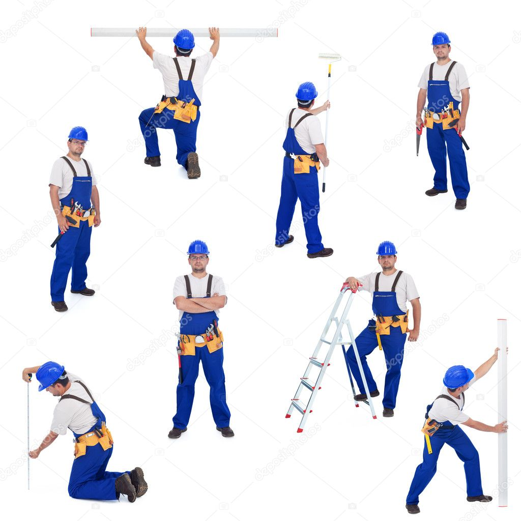 Handyman or worker in different working positions - isolated, collage — Foto Stock #6410286
