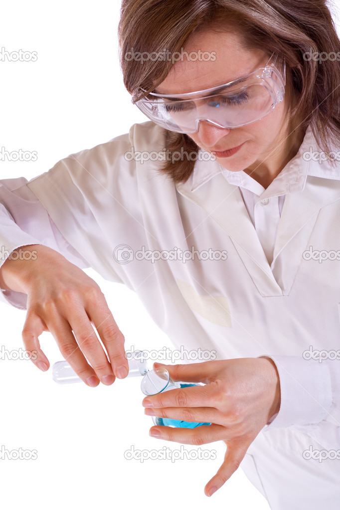Hight key woman researcher with chemical flasks - isolated — Stock Photo #6411265