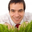 Businessman hiding in grass - isolated — Stock Photo