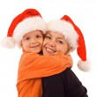 Mother and son at christmas time - isolated — Stock Photo
