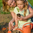 Royalty-Free Stock Photo: Woman and little girl growing healthy food