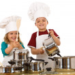 Happy chefs making noise — Stock Photo