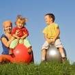 Stock Photo: Family outdoors playing