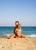 Playing on the beach — Stock Photo