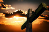 Cross and sunset — Stock Photo