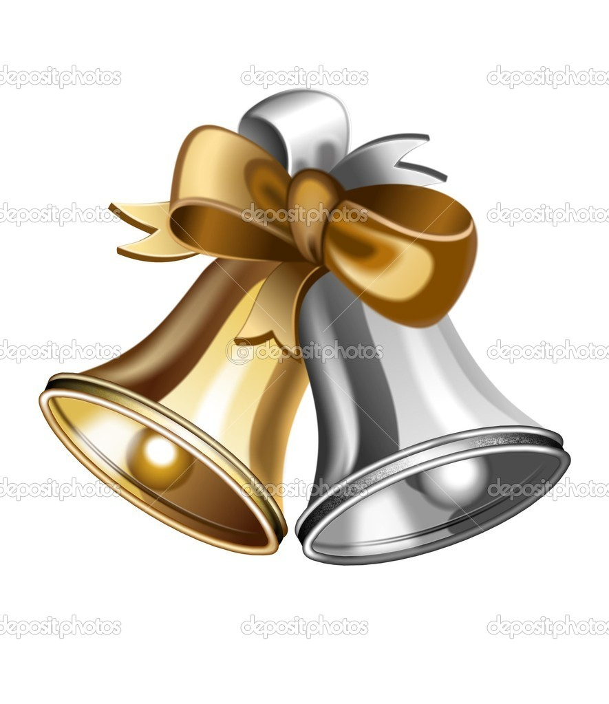 An illustration of gold and silver jingle bells — Stock Photo #6272722