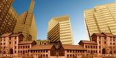 Stare i nowoczesne budynki połączone — Zdjęcie stockowe