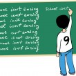 Stock Vector: Kid writing on the blackboard
