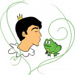 Prince kisses frog — Stock Vector