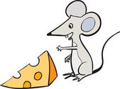 Mouse and a slice of cheese — Stock Vector