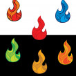 Set of colorful fire flames — Stock Vector