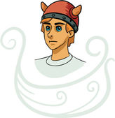 Portrait of young viking cartoon character — Stock Vector