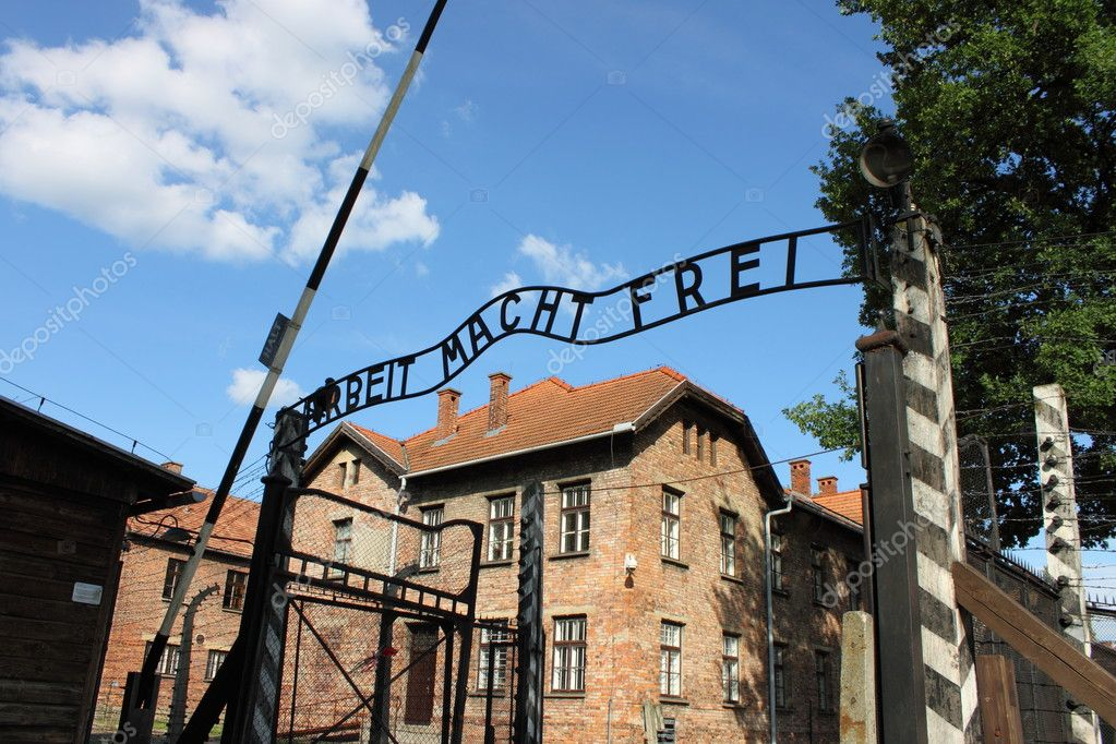 Entrance gate to Auschwitz concentration camp, Poland — Stock Photo #6370828