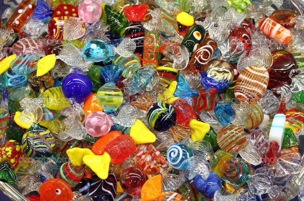 Venetian Murano glass sweets sold in a shop — Stock Photo #6503839