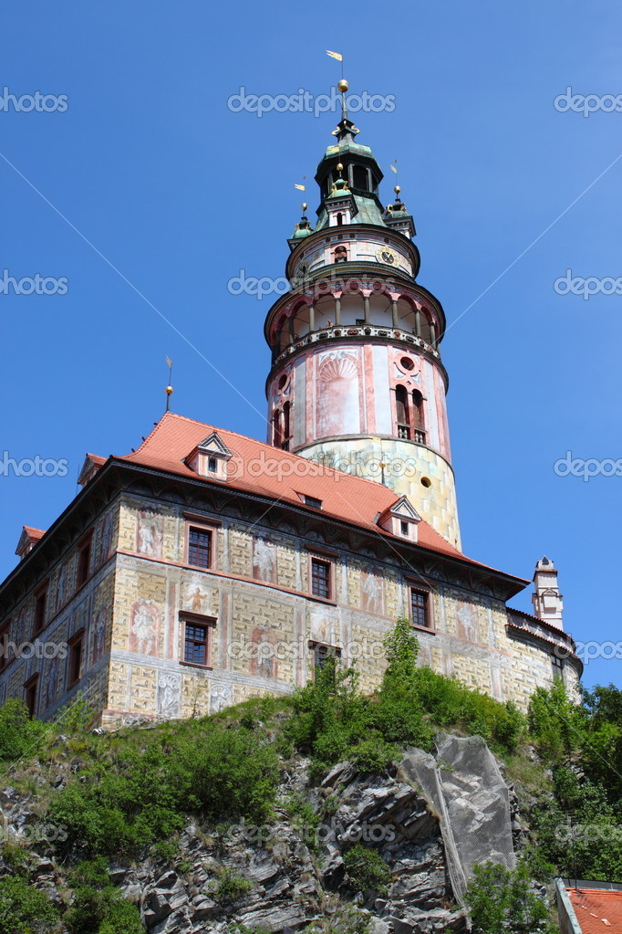 Landscape view of Cesky Krumlov Castle, Cesky Krumlov (Czech Republic)  Stock Photo #6610115