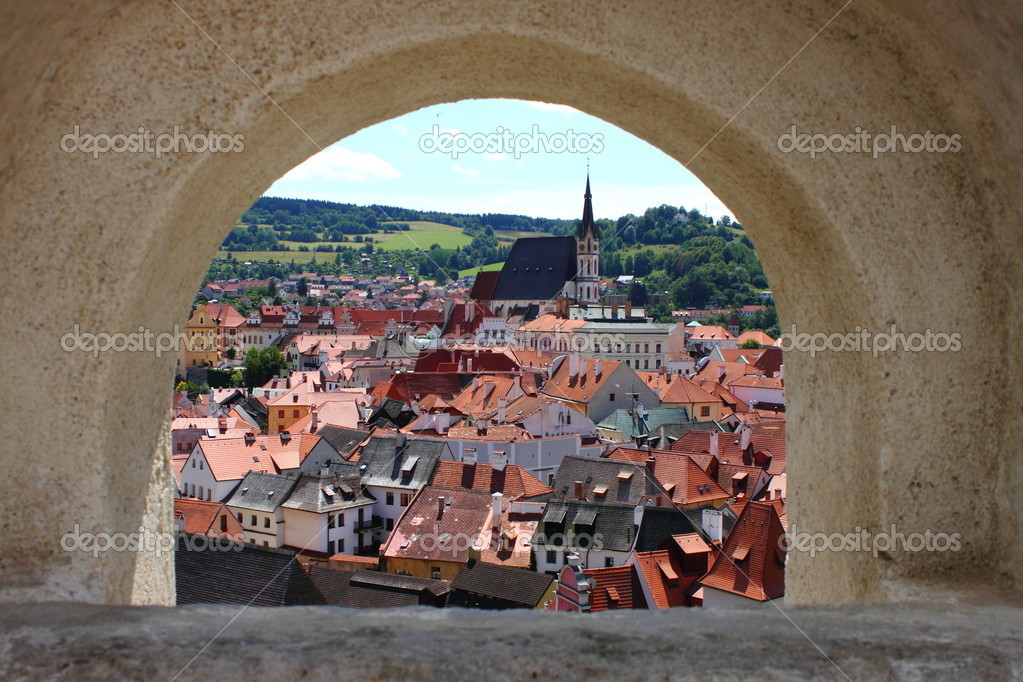 Landscape view of Cesky Krumlov from castle walls, Czech Republic — Stock Photo #6613698