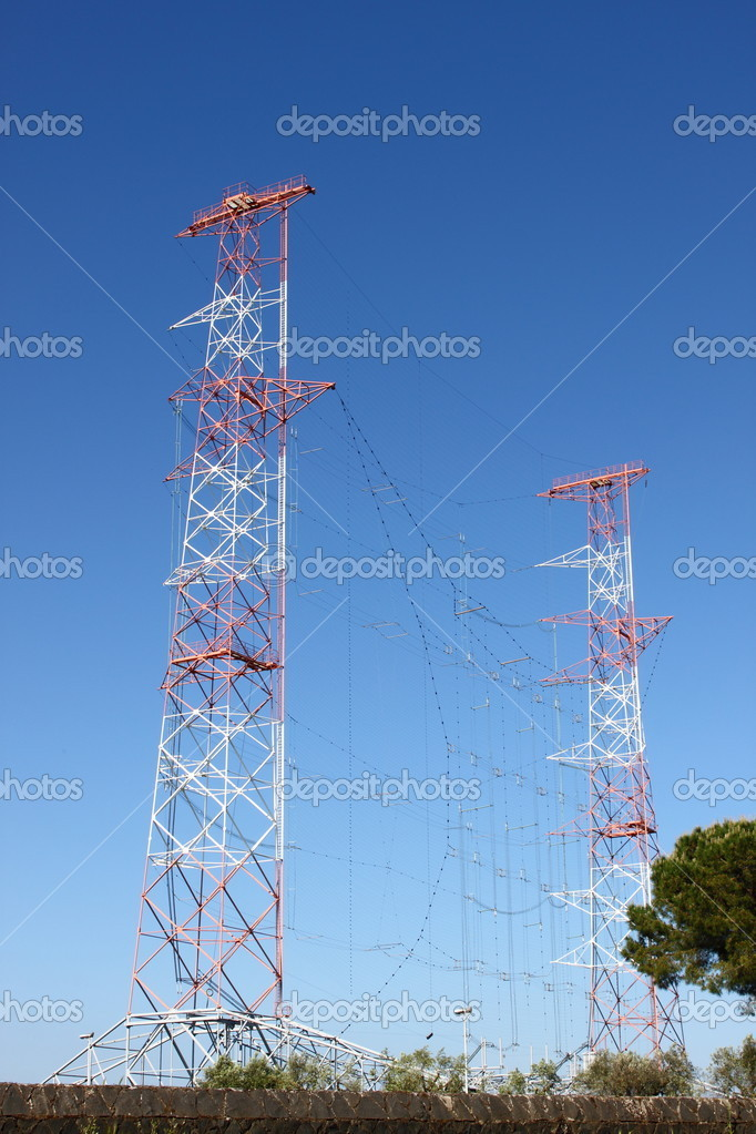 High power radio antenna communication towers — Stock Photo #6681921