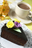 Chocolate Drink With Chocolate Cake — Stock Photo