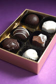 Assorted Chocolates in a Golden Colored Box — Stock Photo