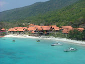 Beach resort near the mountain — Stock Photo