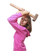 Vrouw met hamer — Stockfoto